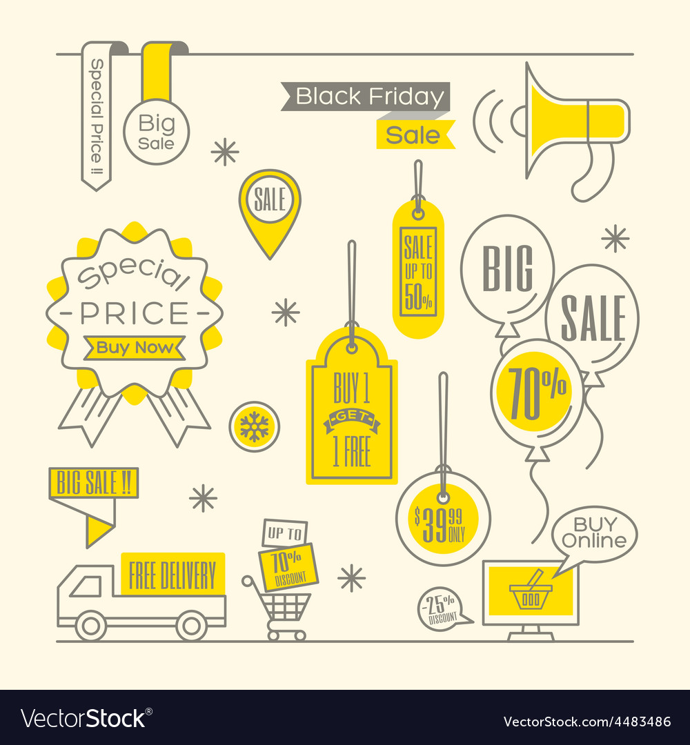 Set of sale tags label shopping design elements vector | Price: 1 Credit (USD $1)