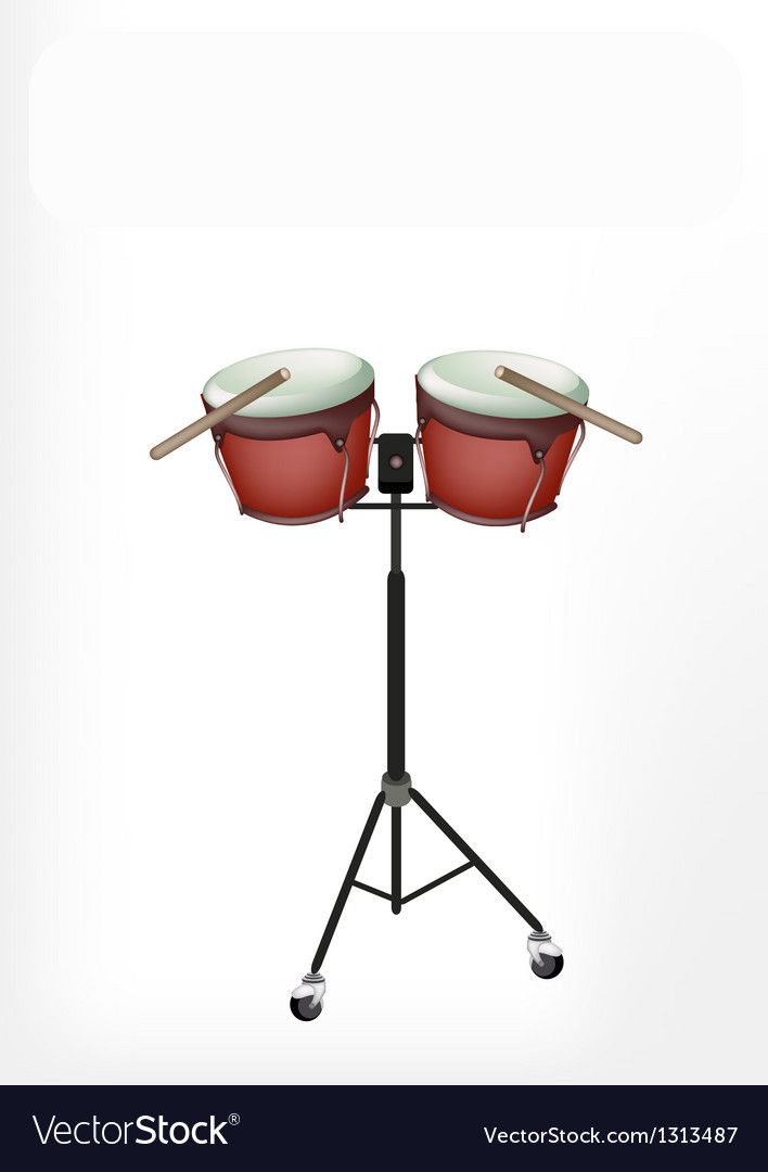 Beautiful bongo drum with sticks on stand vector | Price: 1 Credit (USD $1)