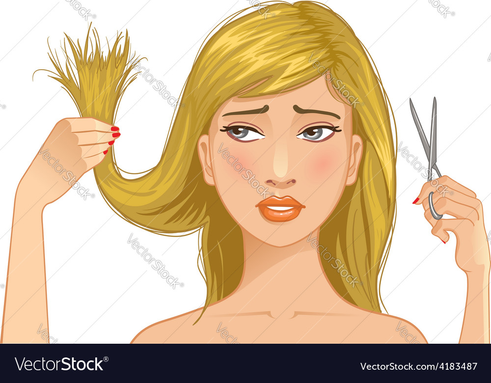 Beautiful sad girl with problem of split ends vector | Price: 1 Credit (USD $1)