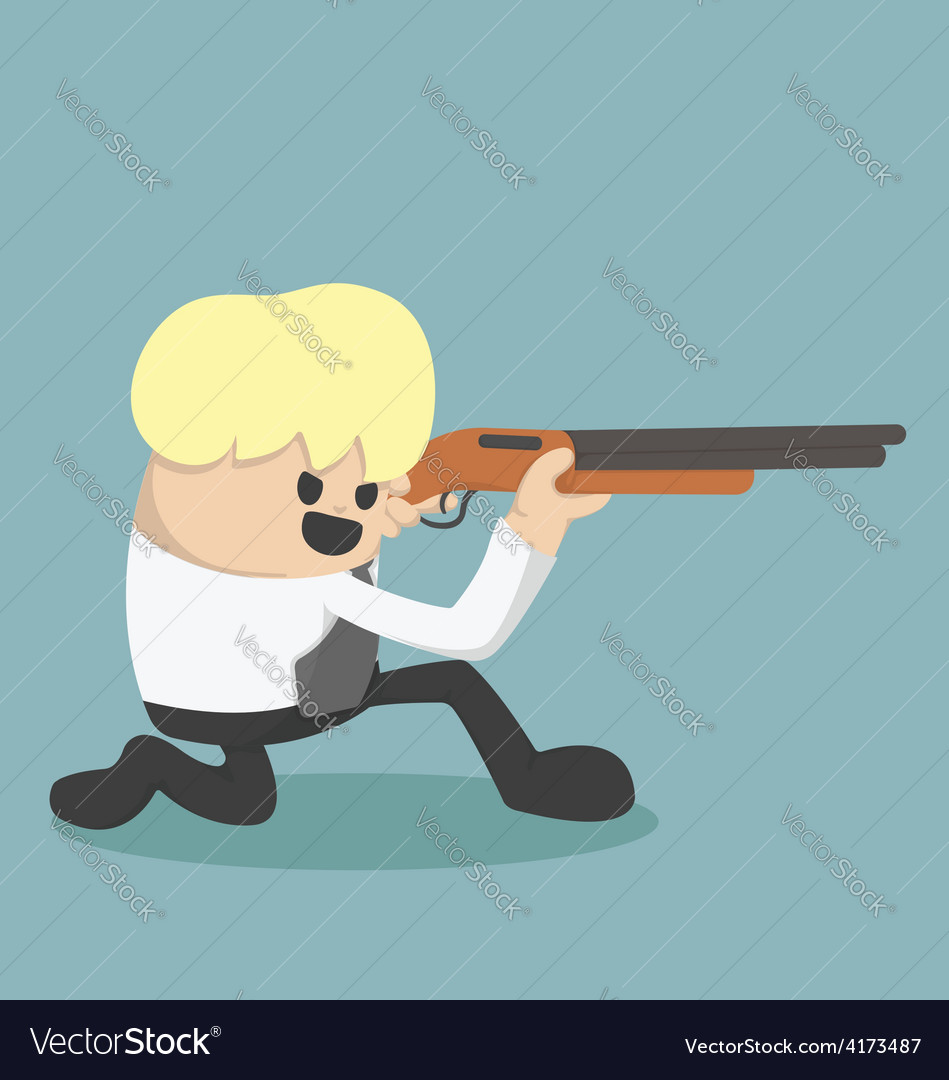 Business is holding a gun to be fired vector | Price: 1 Credit (USD $1)