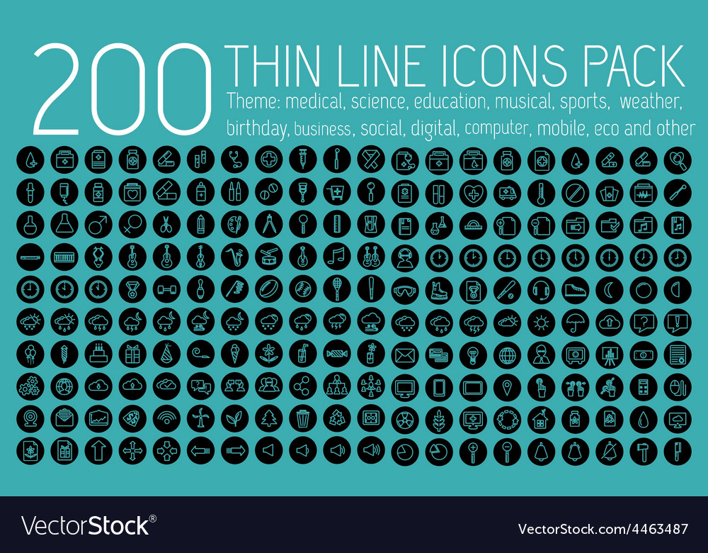 Collection thin lines pictogram icon set concept vector | Price: 1 Credit (USD $1)