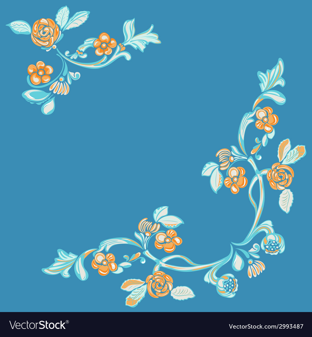 Floral pattern blue background vector | Price: 1 Credit (USD $1)