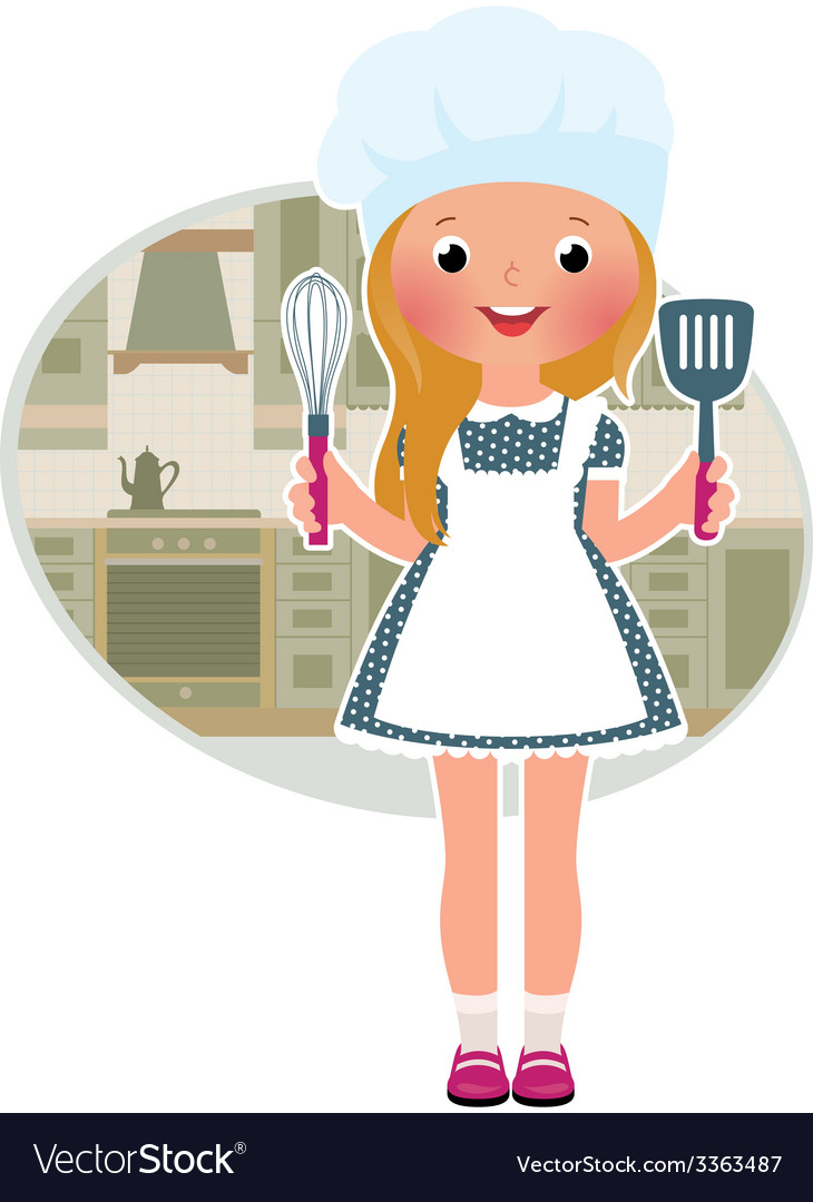 Girl cook in the kitchen vector | Price: 1 Credit (USD $1)