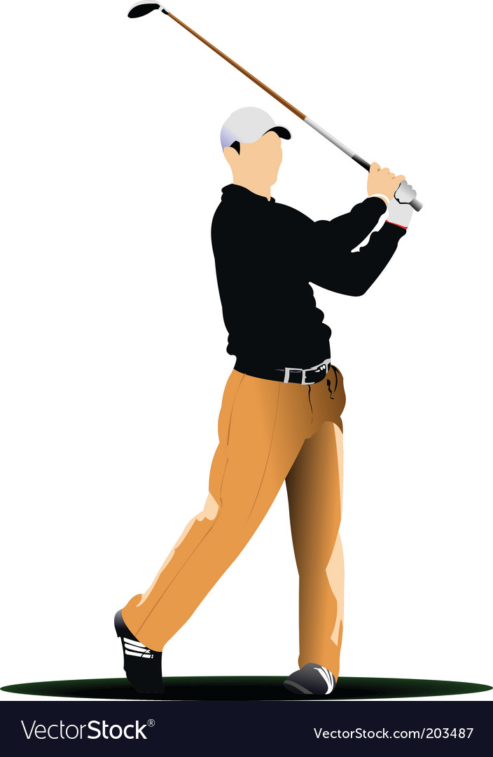 Golfer stencil vector | Price: 1 Credit (USD $1)