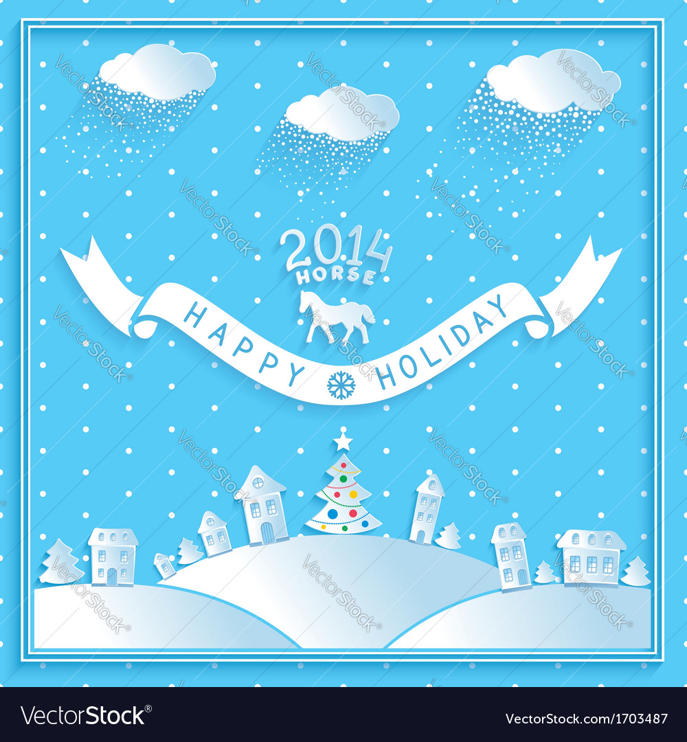 Happy new year retro greetings holiday vector | Price: 1 Credit (USD $1)