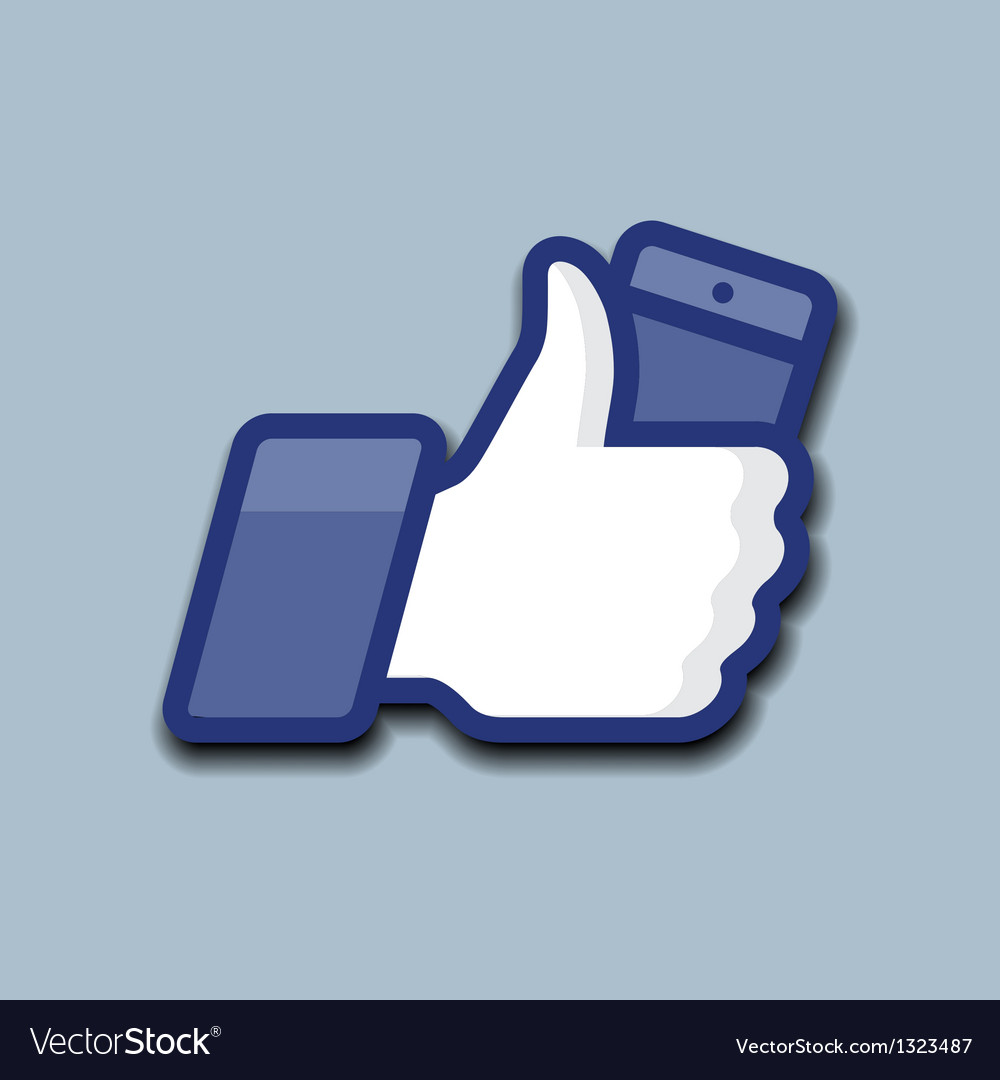 Likethumbs up symbol icon with mobile phone vector | Price: 1 Credit (USD $1)