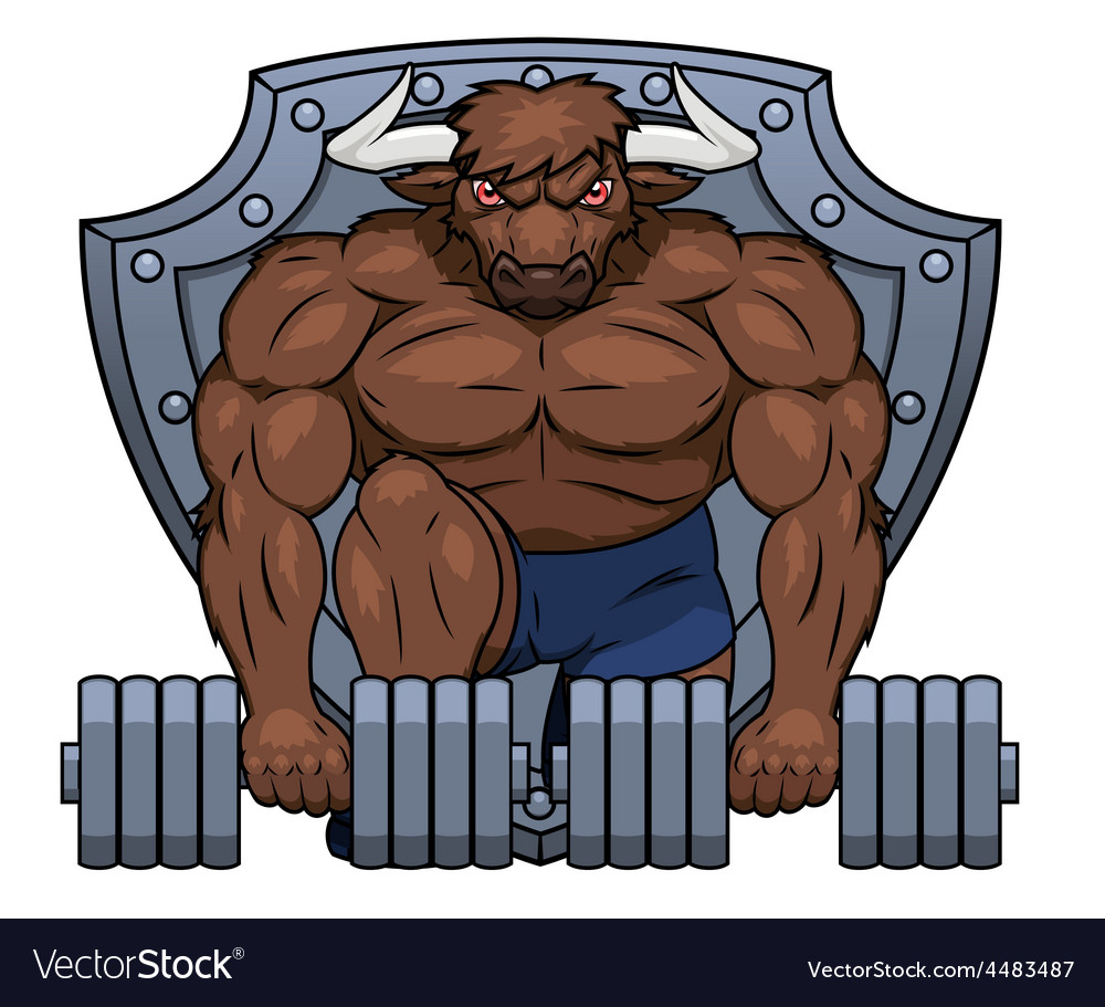 Muscular bull is lifting dumbbells 2 vector | Price: 1 Credit (USD $1)