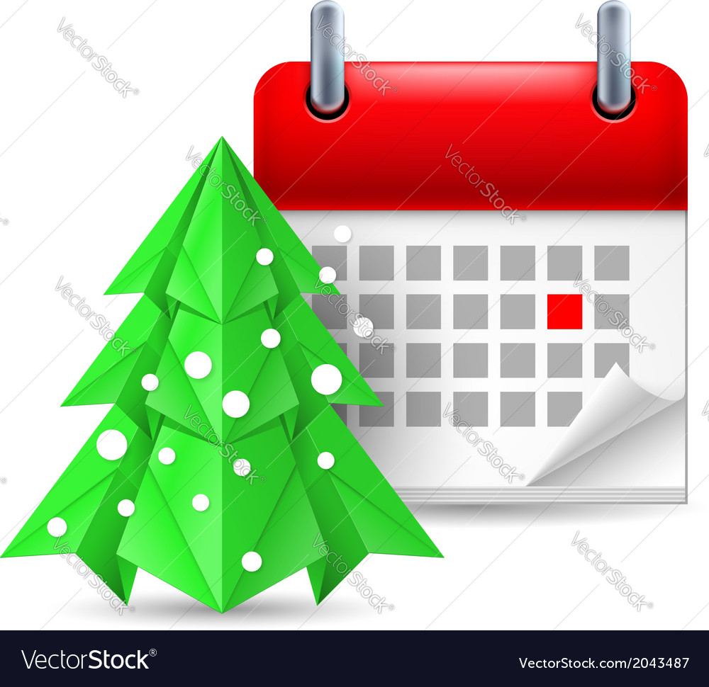 Paper pine tree and calendar vector | Price: 1 Credit (USD $1)