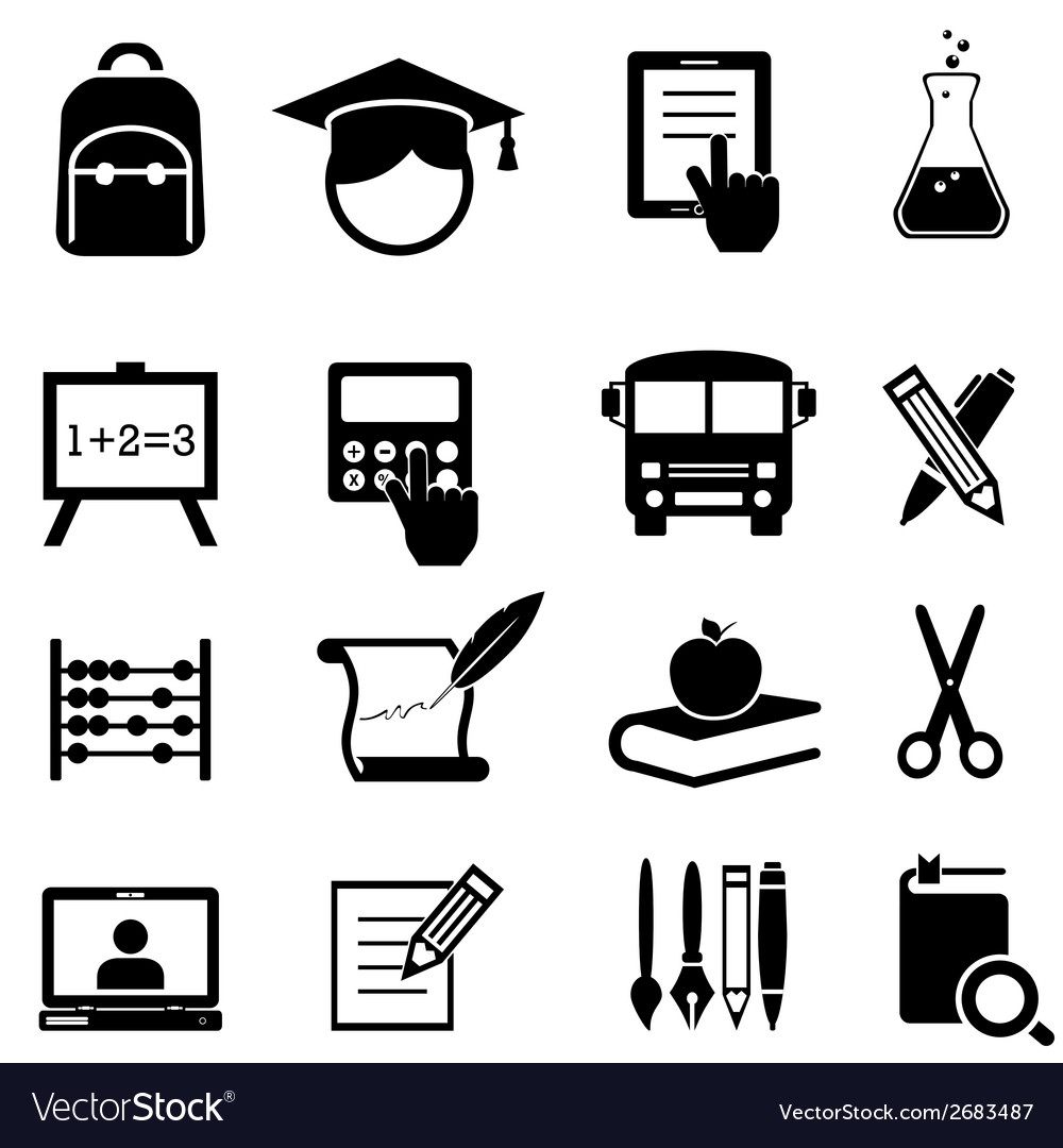 School learning and education icons vector | Price: 1 Credit (USD $1)