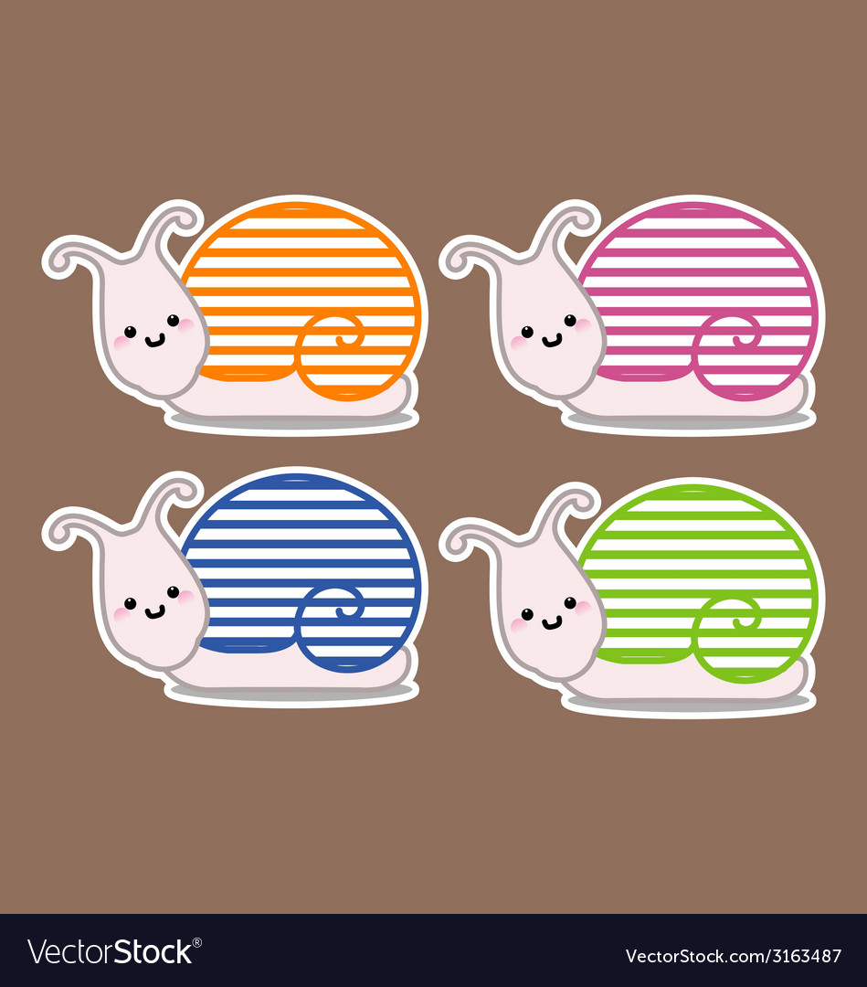 Snails with different col vector | Price: 1 Credit (USD $1)