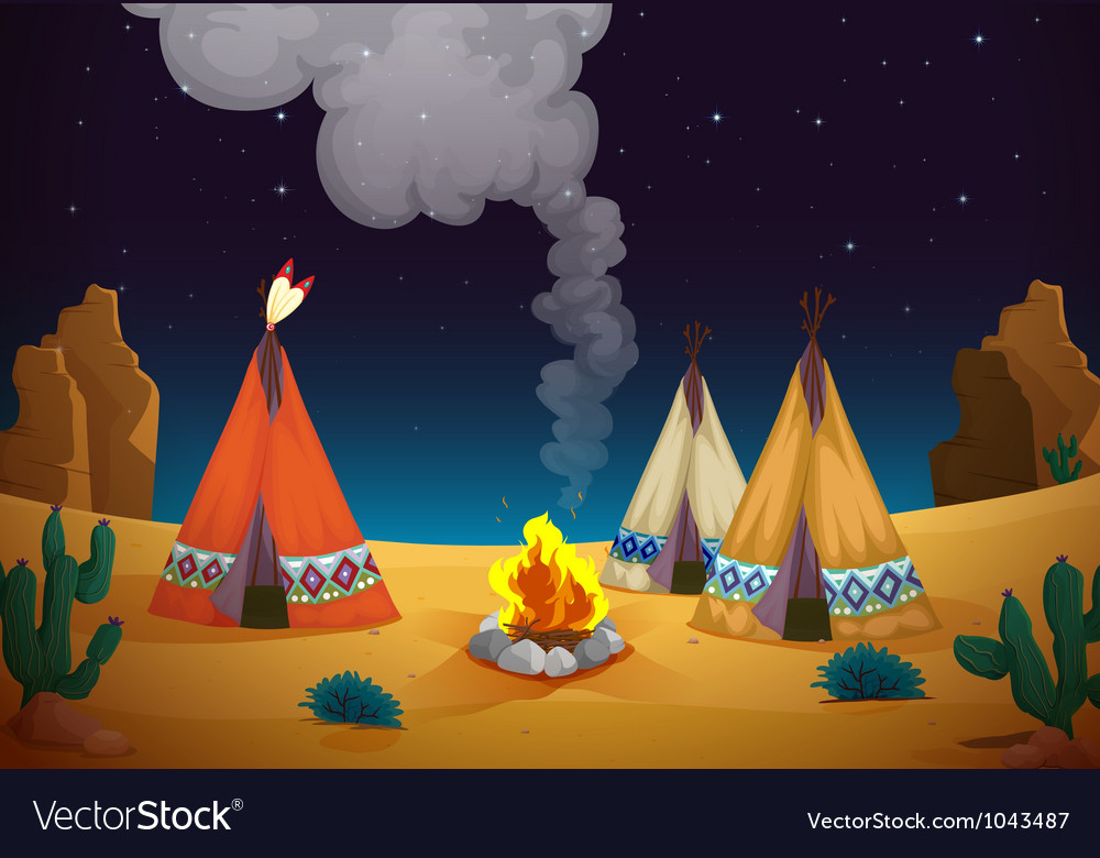 Tent house and fire vector | Price: 1 Credit (USD $1)