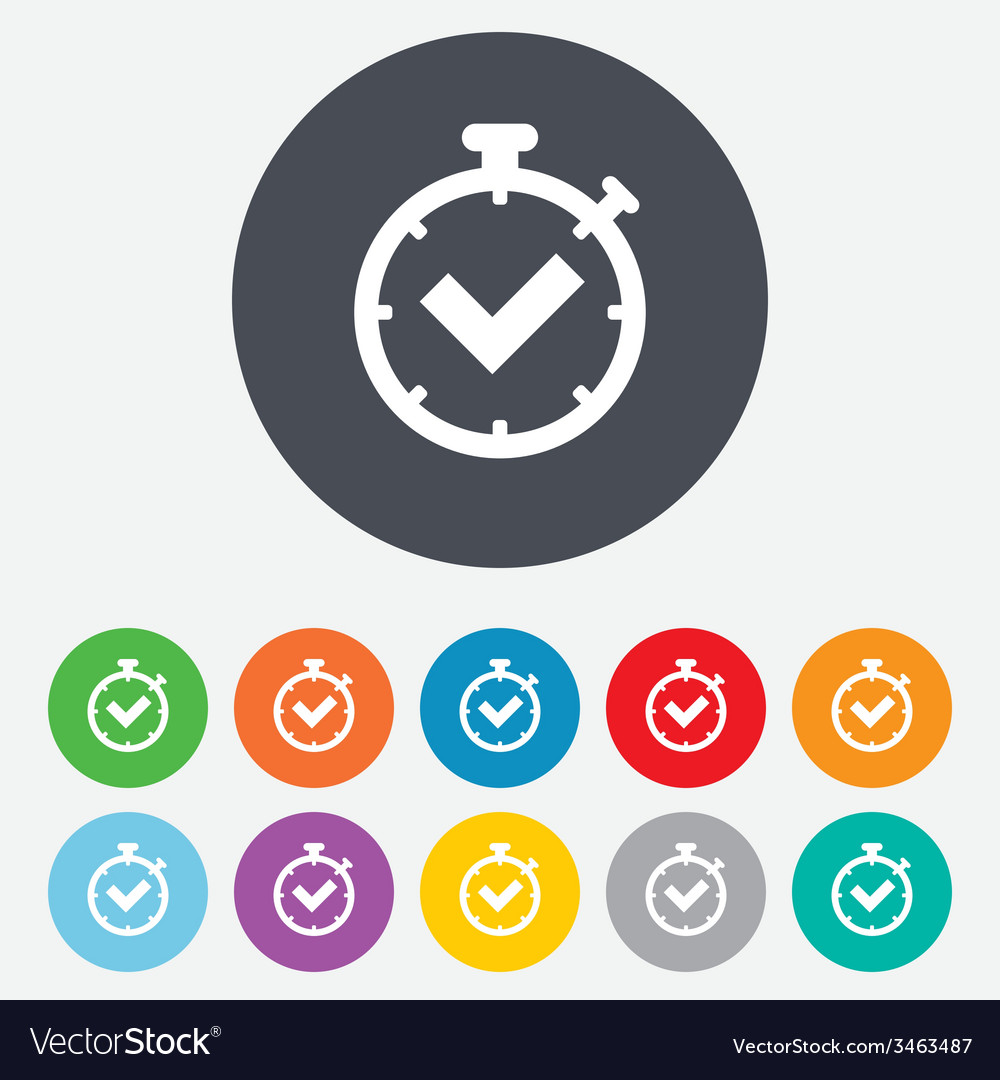 Timer sign icon check stopwatch symbol vector | Price: 1 Credit (USD $1)