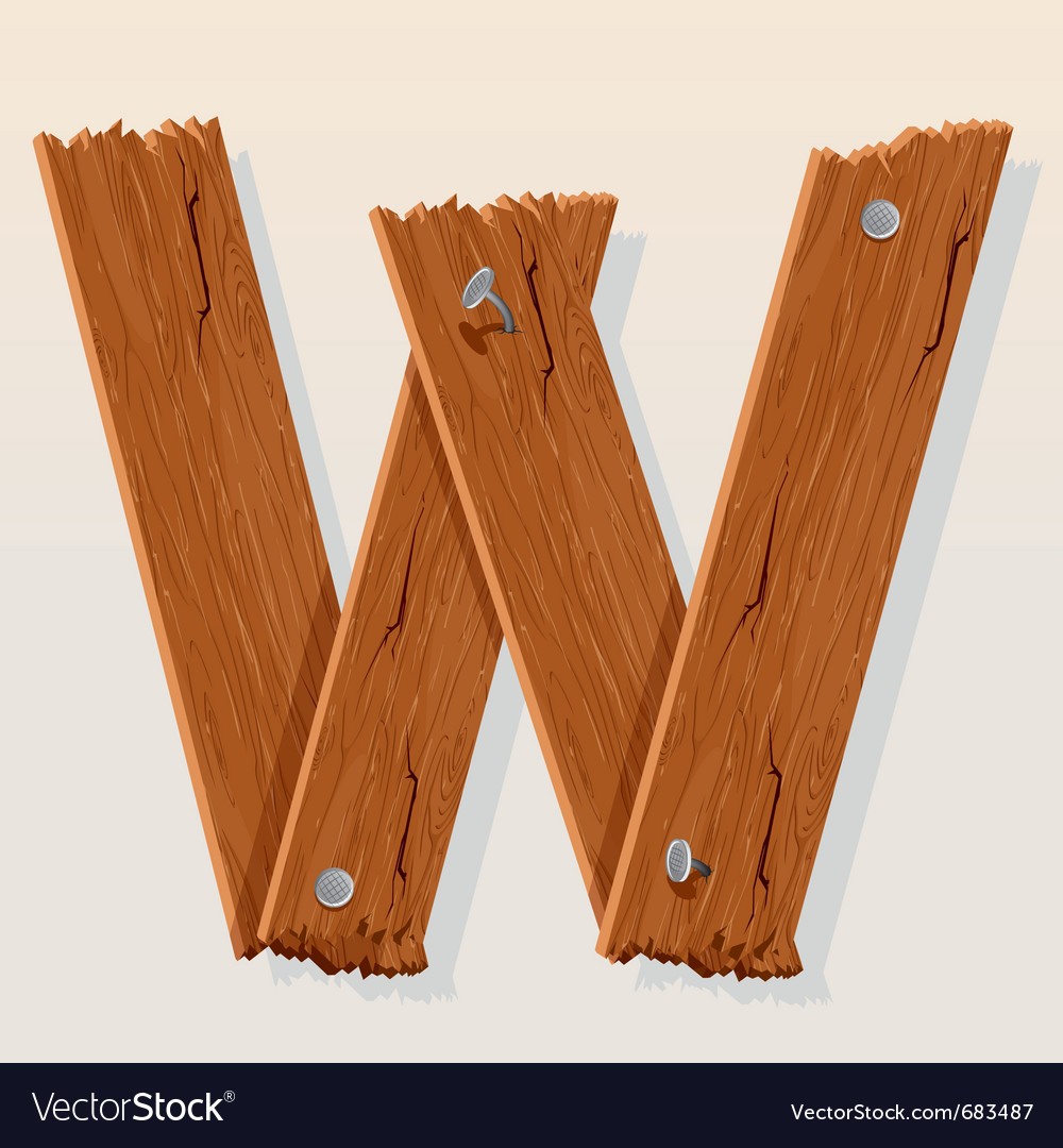 Wooden letter w vector | Price: 1 Credit (USD $1)