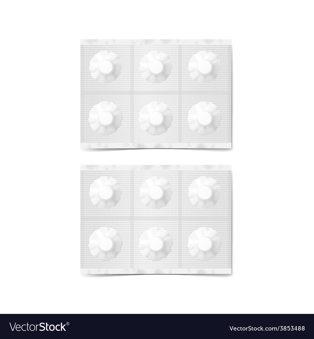Blank paper pack of pills isolated on white vector | Price: 3 Credit (USD $3)
