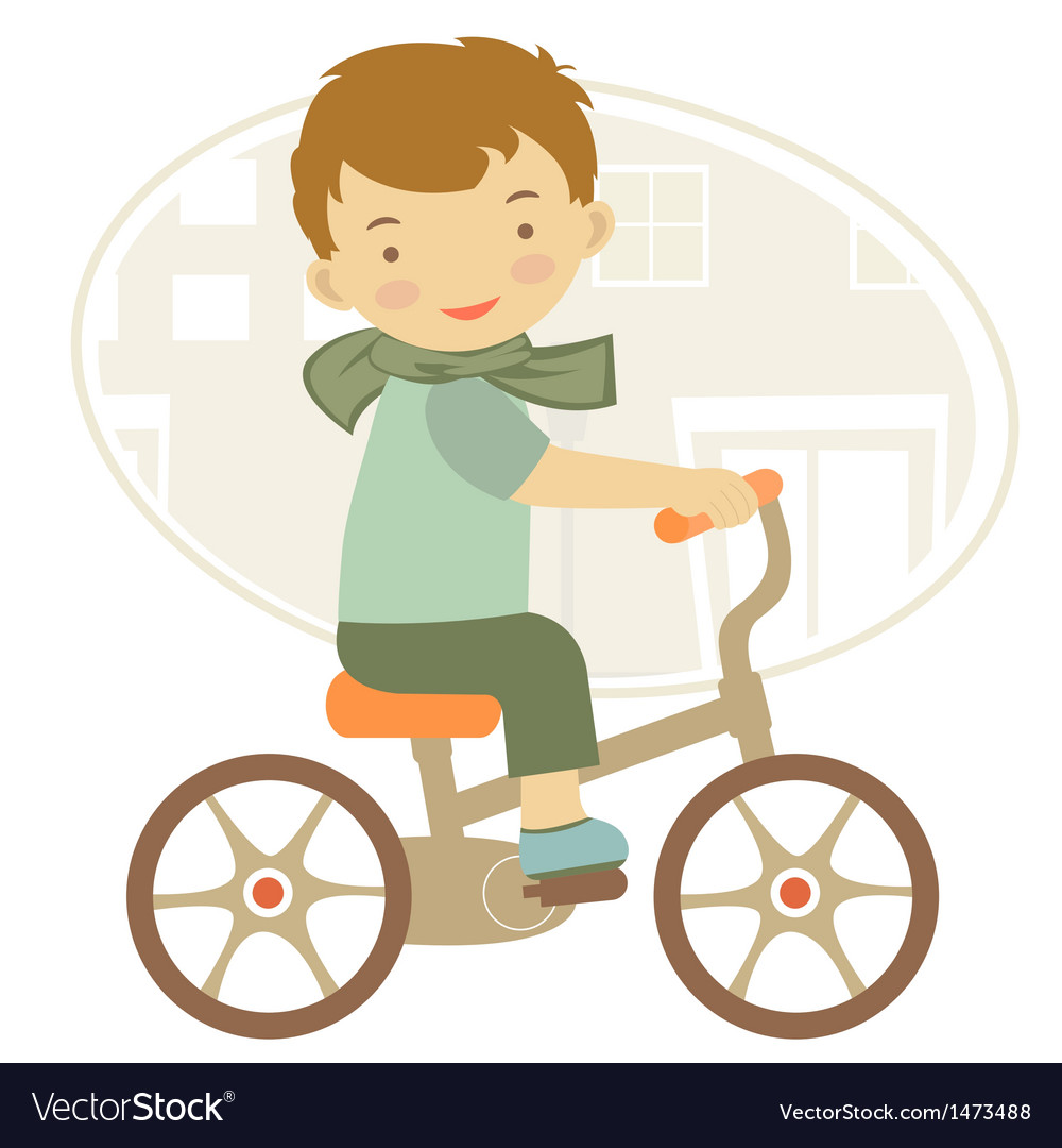 Boy on a bycicle vector | Price: 1 Credit (USD $1)