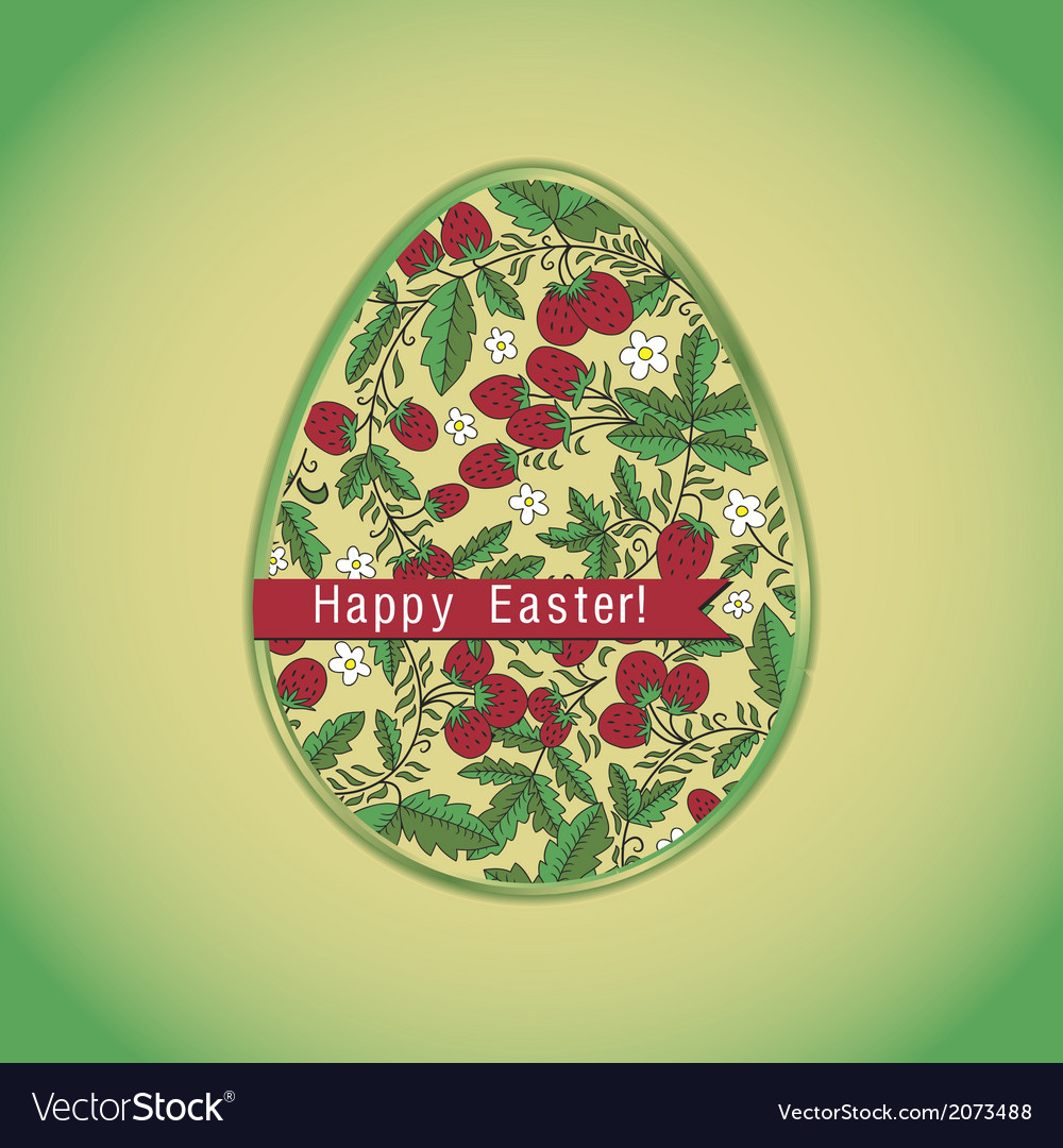 Easter egg with strawberry green greeting card vector | Price: 1 Credit (USD $1)