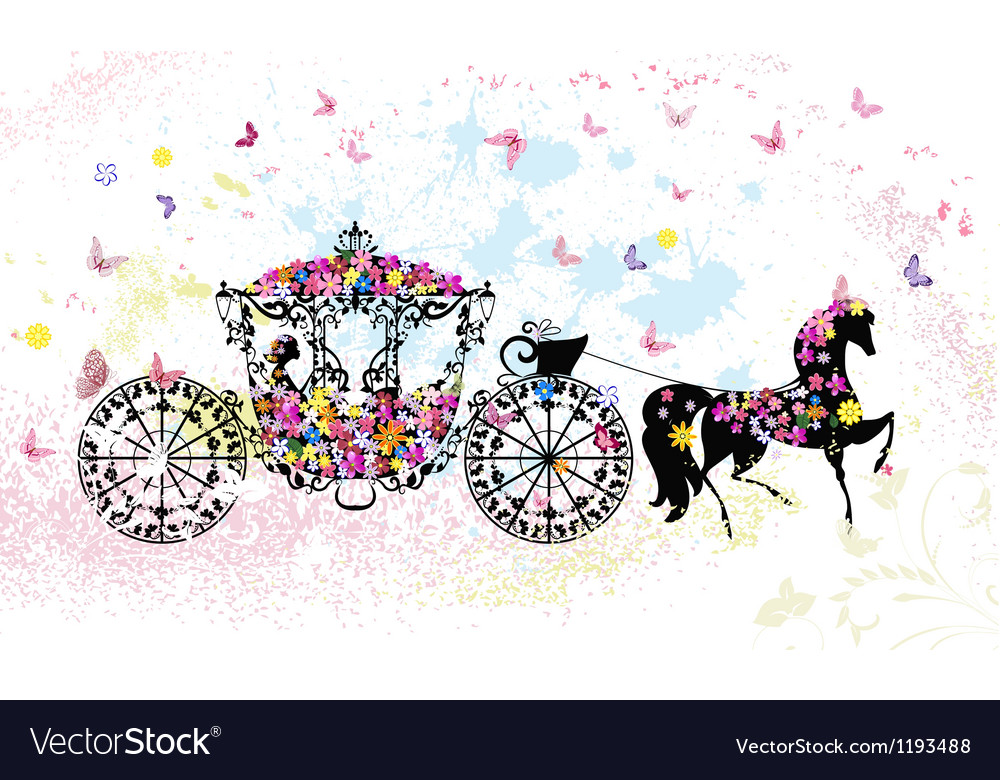 Floral horse carriage vector | Price: 1 Credit (USD $1)