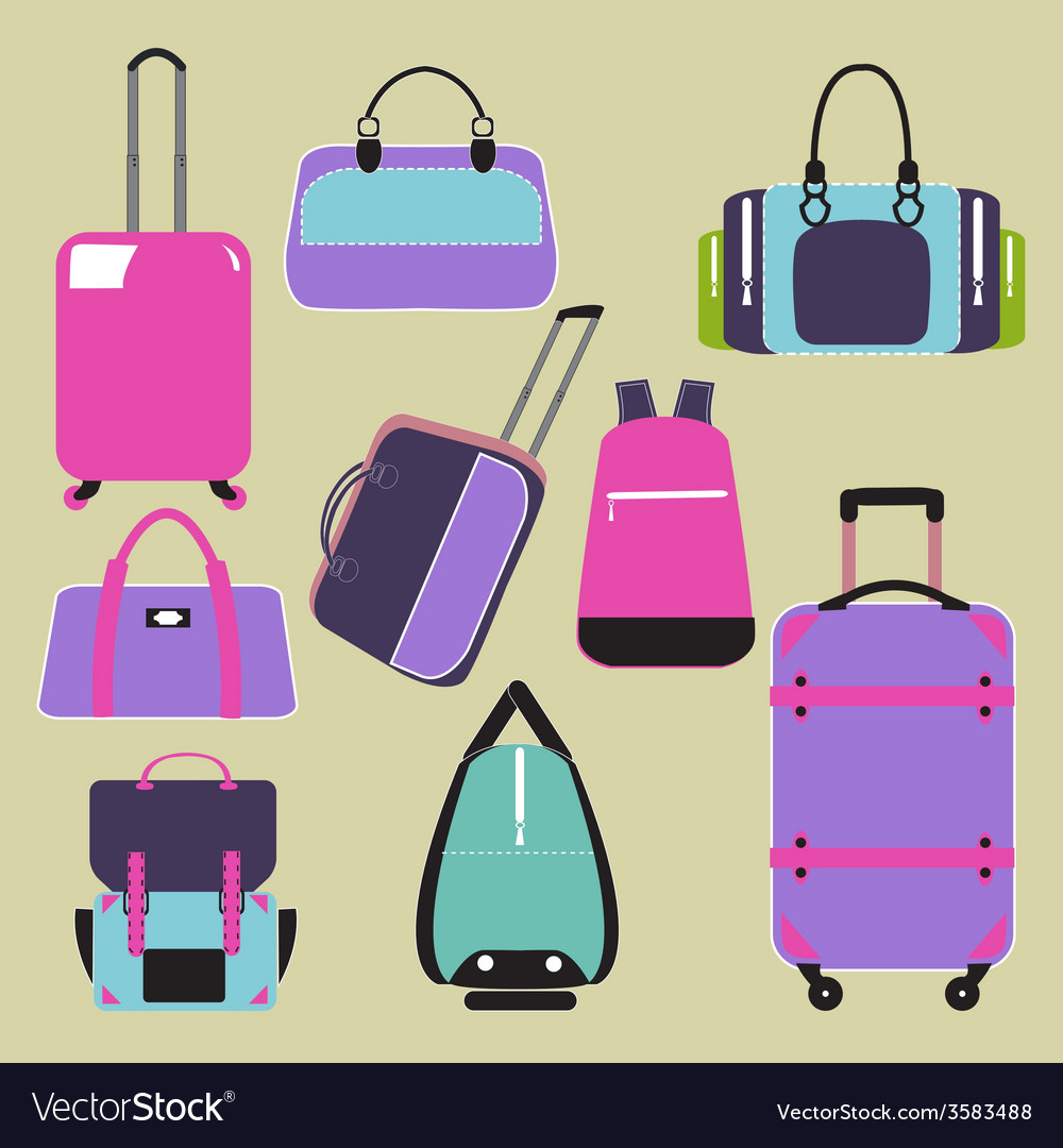 Handbags bags and travel suitcases background vector | Price: 1 Credit (USD $1)