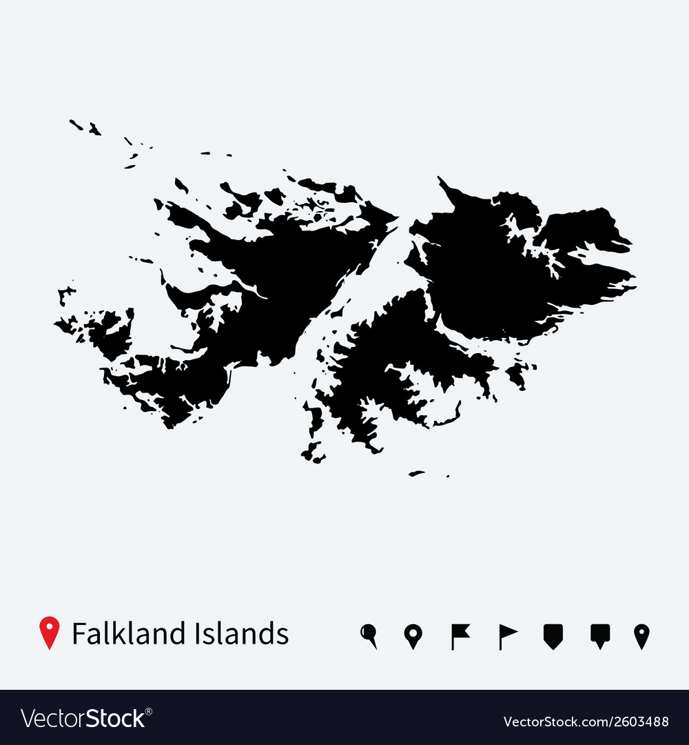 High detailed map of falkland islands with pins vector | Price: 1 Credit (USD $1)