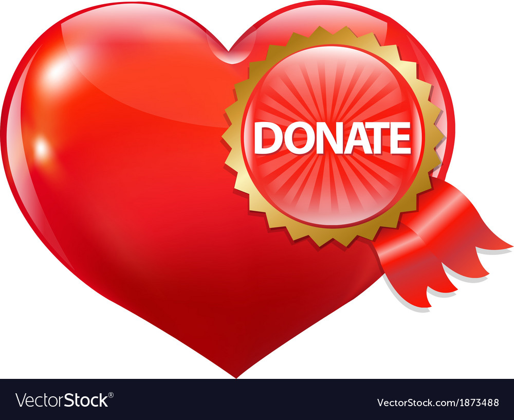 Red heart with label donate vector | Price: 1 Credit (USD $1)