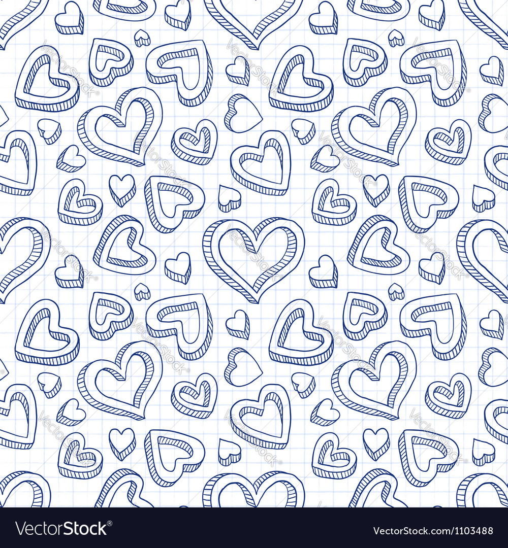 Seamless doodle pattern with hand drawn hearts vector | Price: 1 Credit (USD $1)