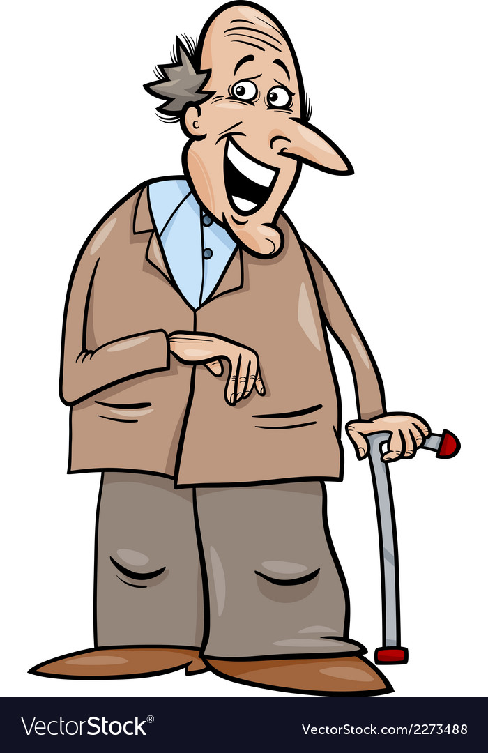 Senior with cane cartoon vector | Price: 1 Credit (USD $1)
