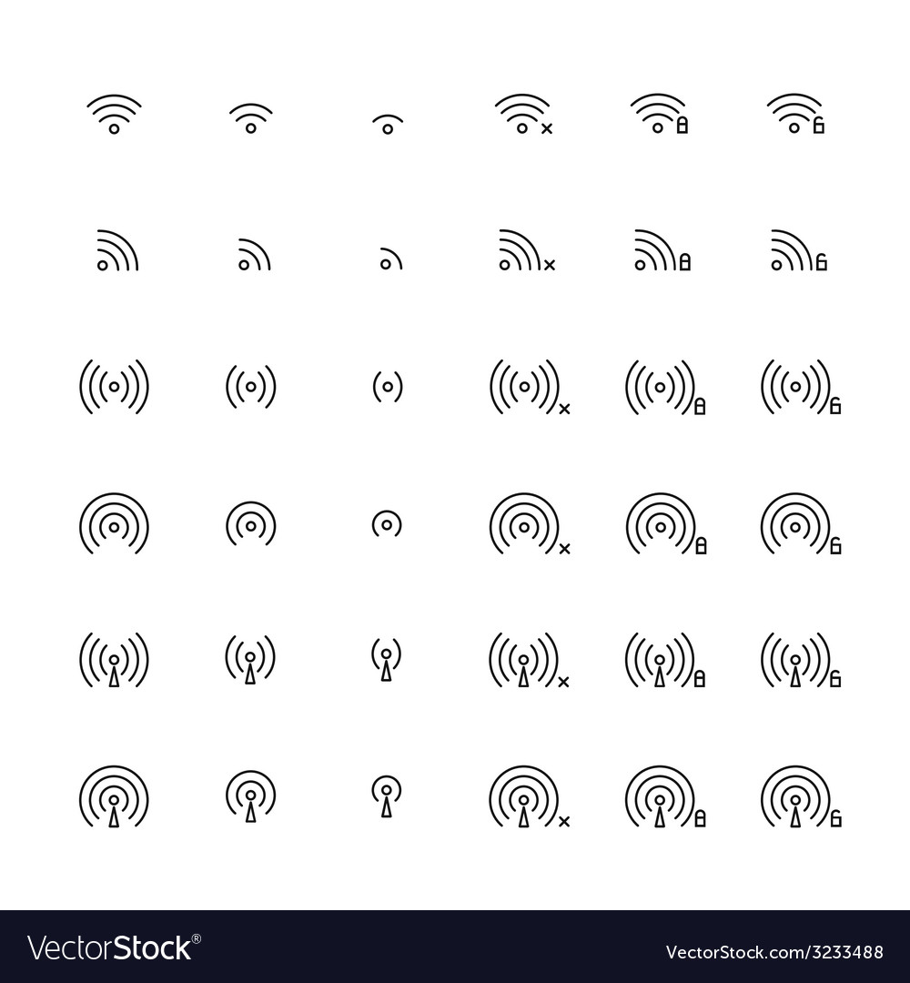 Set of different flat wi-fi and wireless icons for vector | Price: 1 Credit (USD $1)