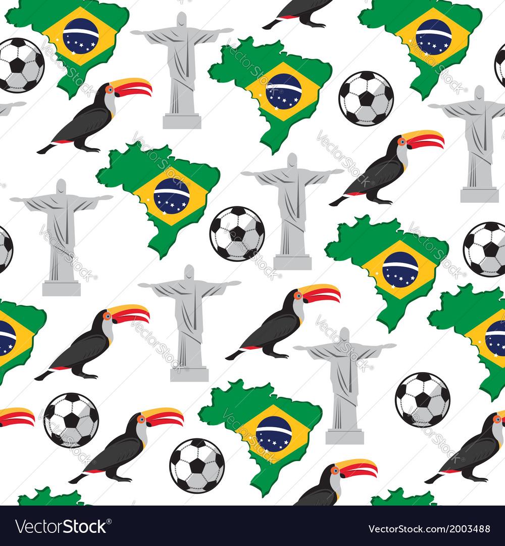 Soccer seamless pattern brazil summer world game vector | Price: 1 Credit (USD $1)