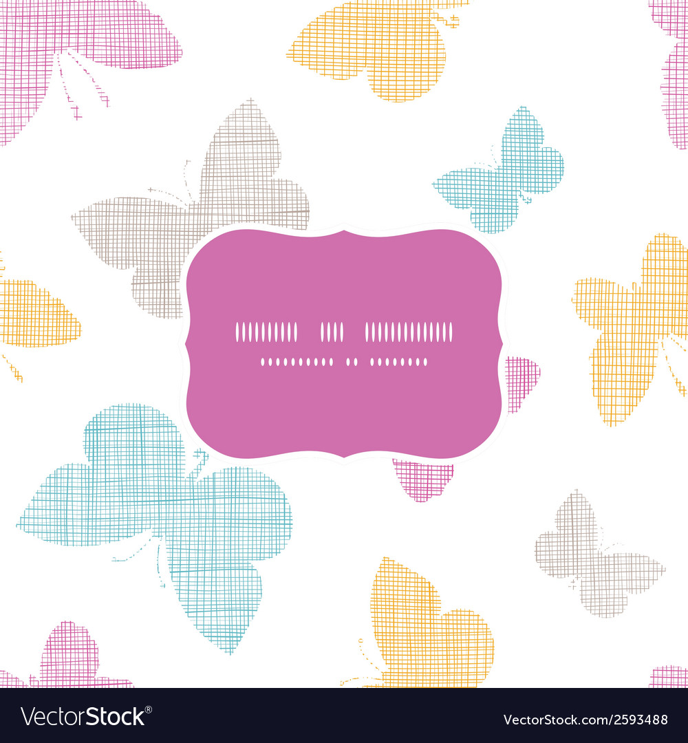 Textile textured colorful butterflies frame vector | Price: 1 Credit (USD $1)