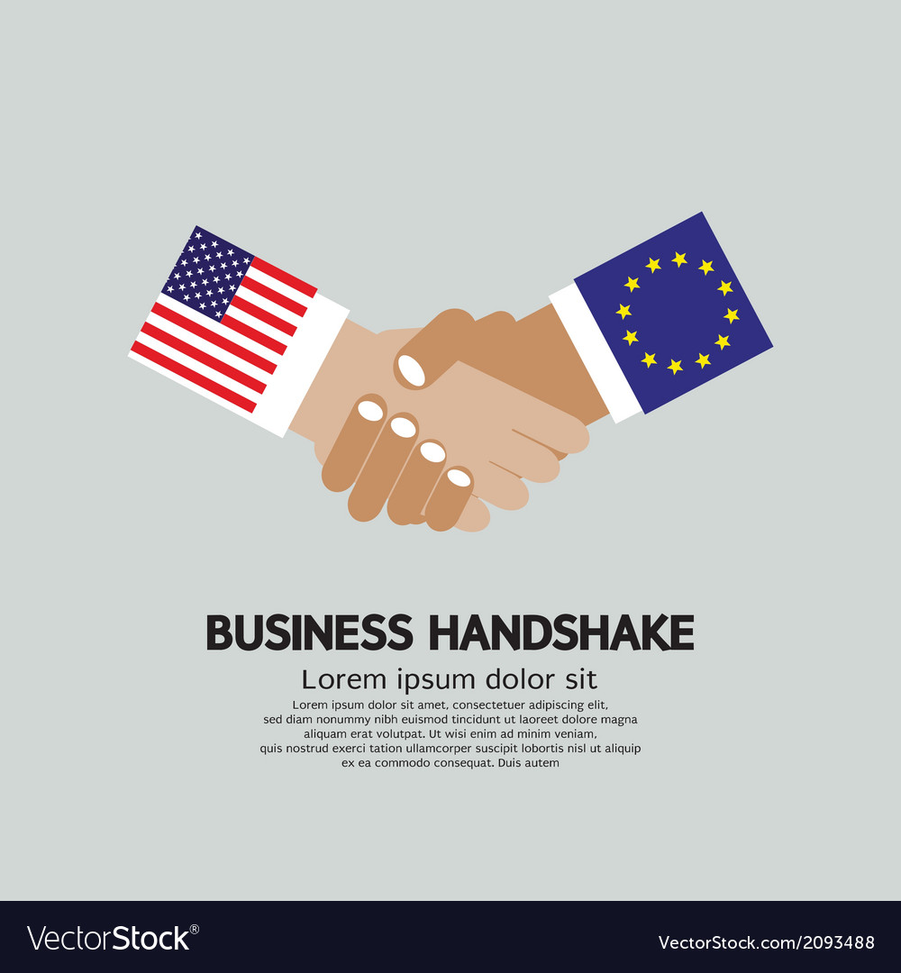 Usa-eu business handshake vector | Price: 1 Credit (USD $1)