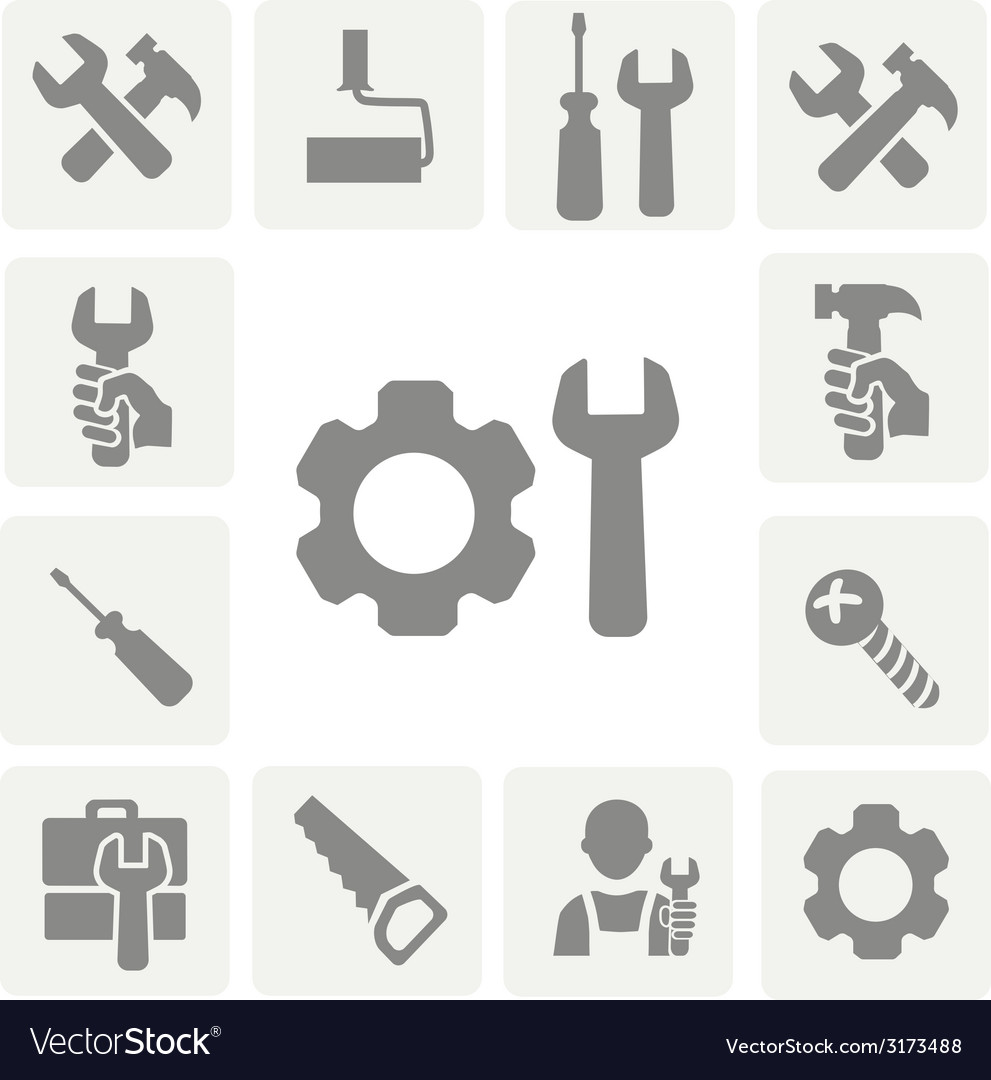 Working tools isolated icons set of hammer wrench vector   Price: 1 Credit (USD $1)