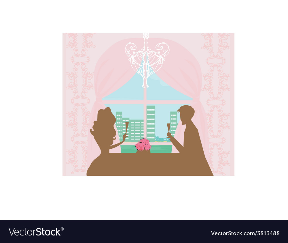 Young couple flirt and drink champagne - vector | Price: 1 Credit (USD $1)