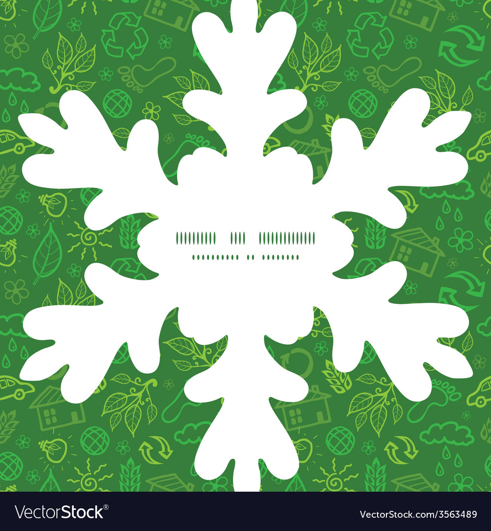 Ecology symbols christmas snowflake silhouette vector | Price: 1 Credit (USD $1)