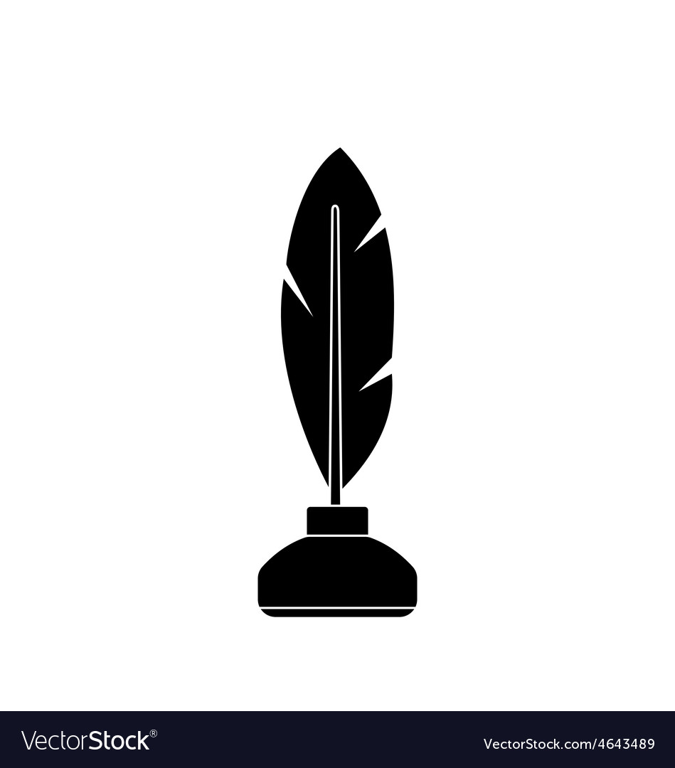 Feather and ink bottle isolated on white vector | Price: 1 Credit (USD $1)