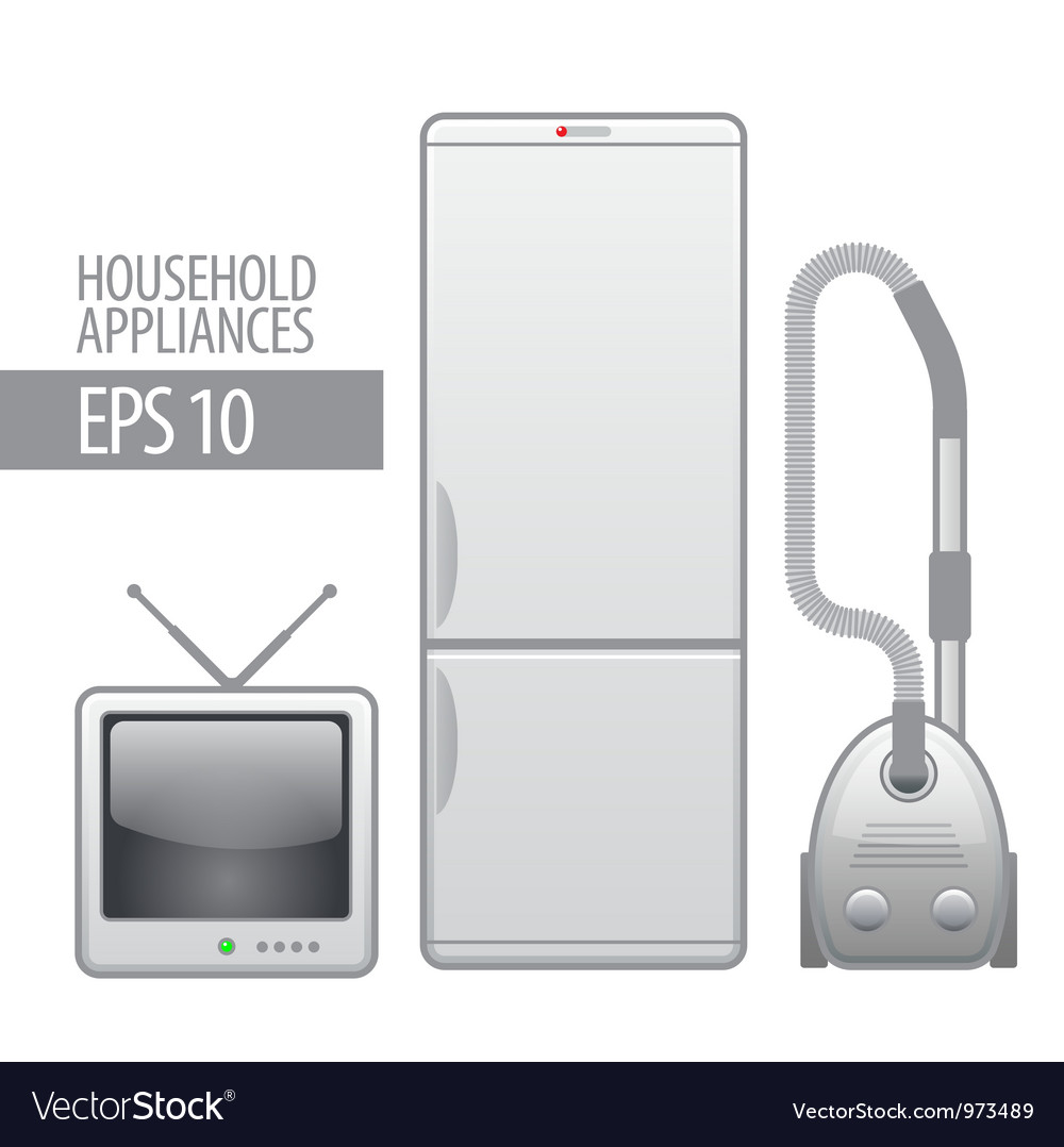 Household appliances icon set vector | Price: 3 Credit (USD $3)