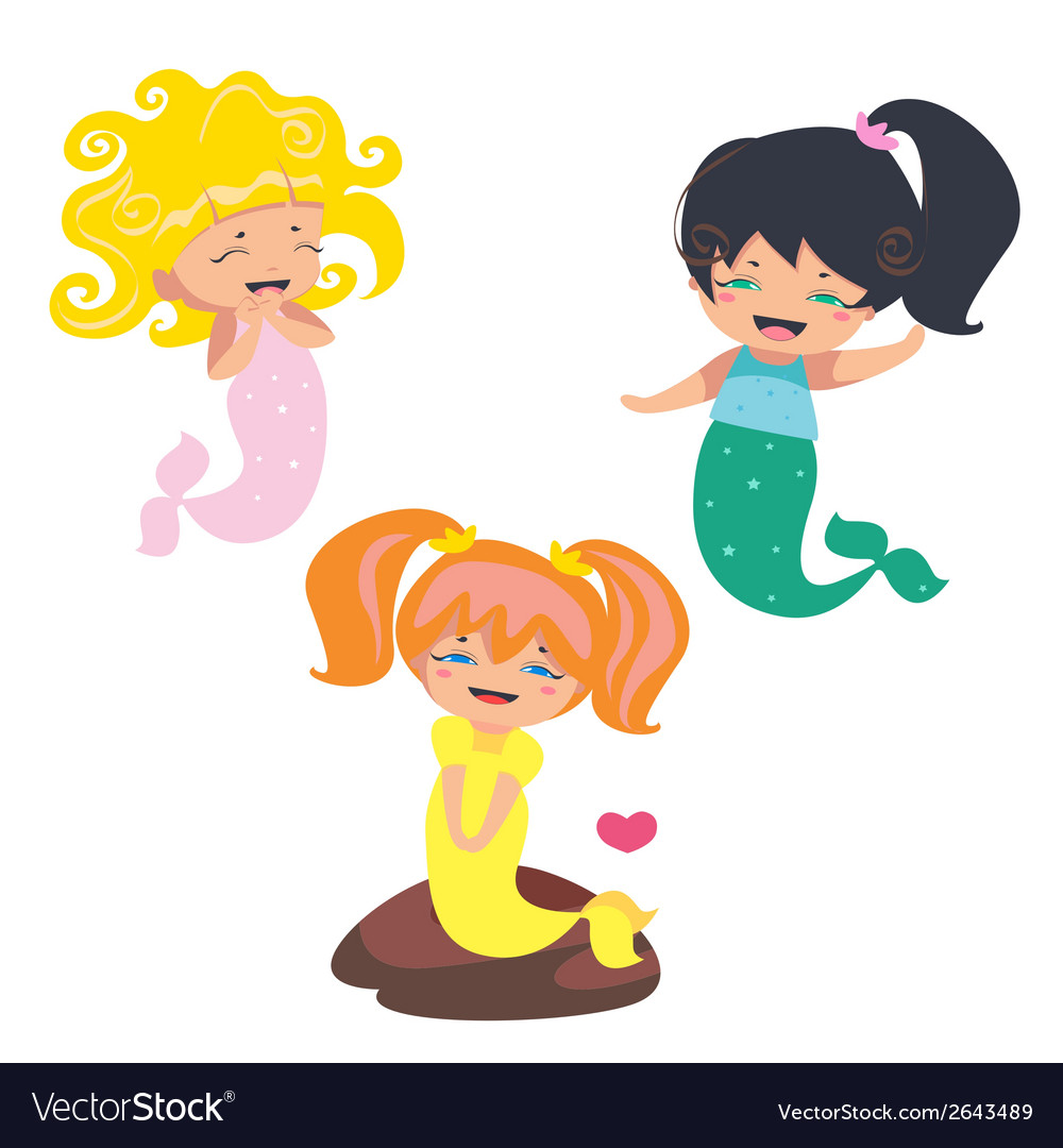 Lovely mermaids characters vector | Price: 1 Credit (USD $1)