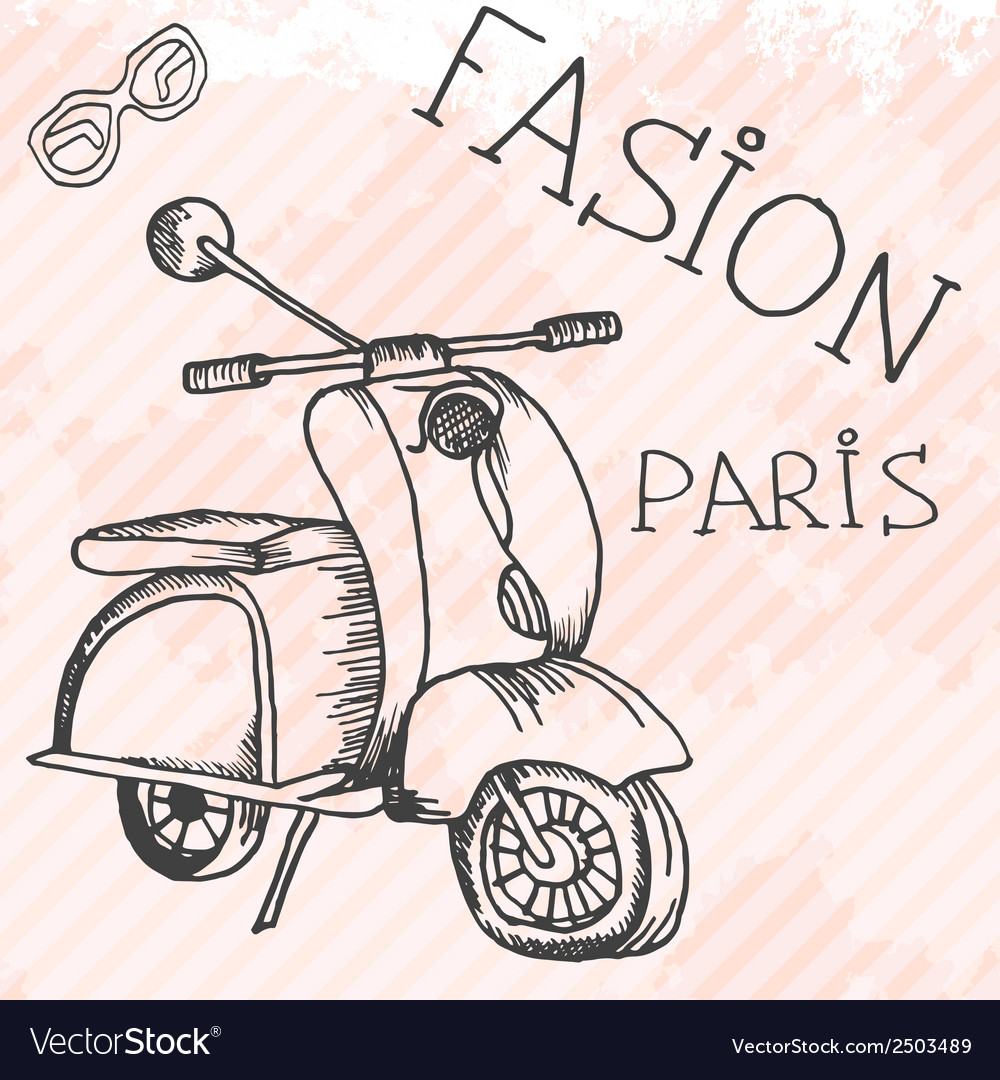 Scooter retro hand drawn design card vector | Price: 1 Credit (USD $1)