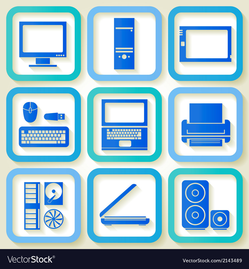 Set of 9 icons with computers vector | Price: 1 Credit (USD $1)