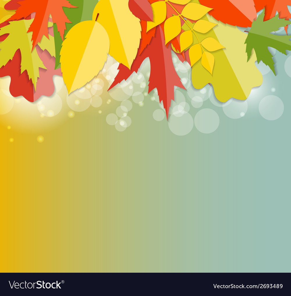Shiny autumn natural leaves background vector | Price: 1 Credit (USD $1)
