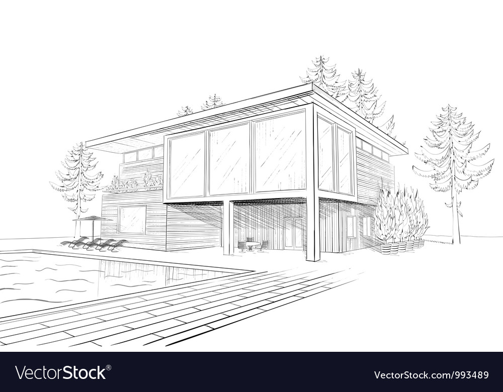 Sketch of modern house with swimming pool vector | Price: 1 Credit (USD $1)
