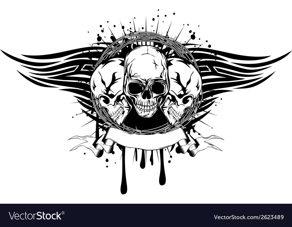 Three skulls tribal vector | Price: 1 Credit (USD $1)