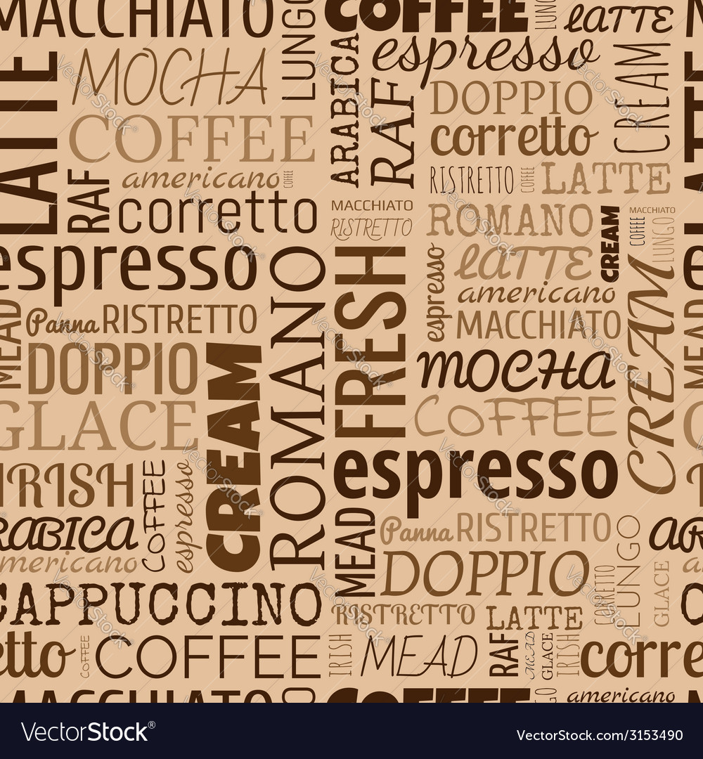 Coffee words tags seamless pattern vector | Price: 1 Credit (USD $1)