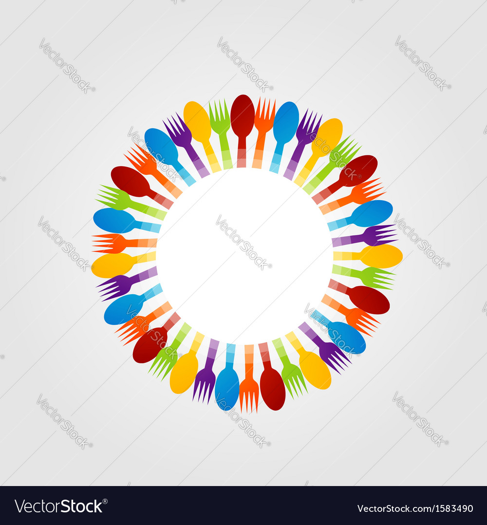 Decorative design element with spoons and forks vector | Price: 1 Credit (USD $1)