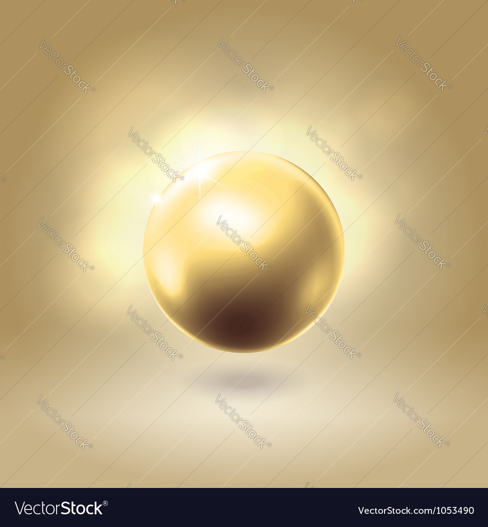 Golden glowing gorgeous pearl ball vector | Price: 1 Credit (USD $1)