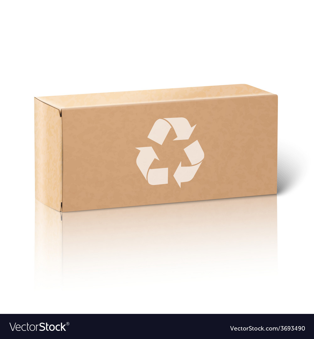 Realistic blank paper craft package box isolated vector | Price: 3 Credit (USD $3)