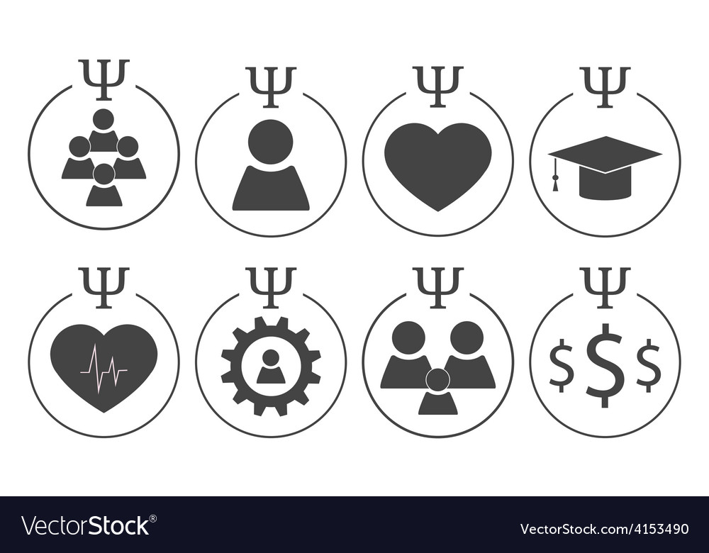 Set of psychology symbols vector | Price: 1 Credit (USD $1)