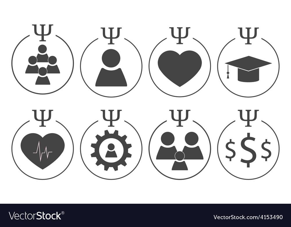Set of psychology symbols vector | Price: 1 Credit (USD $1)