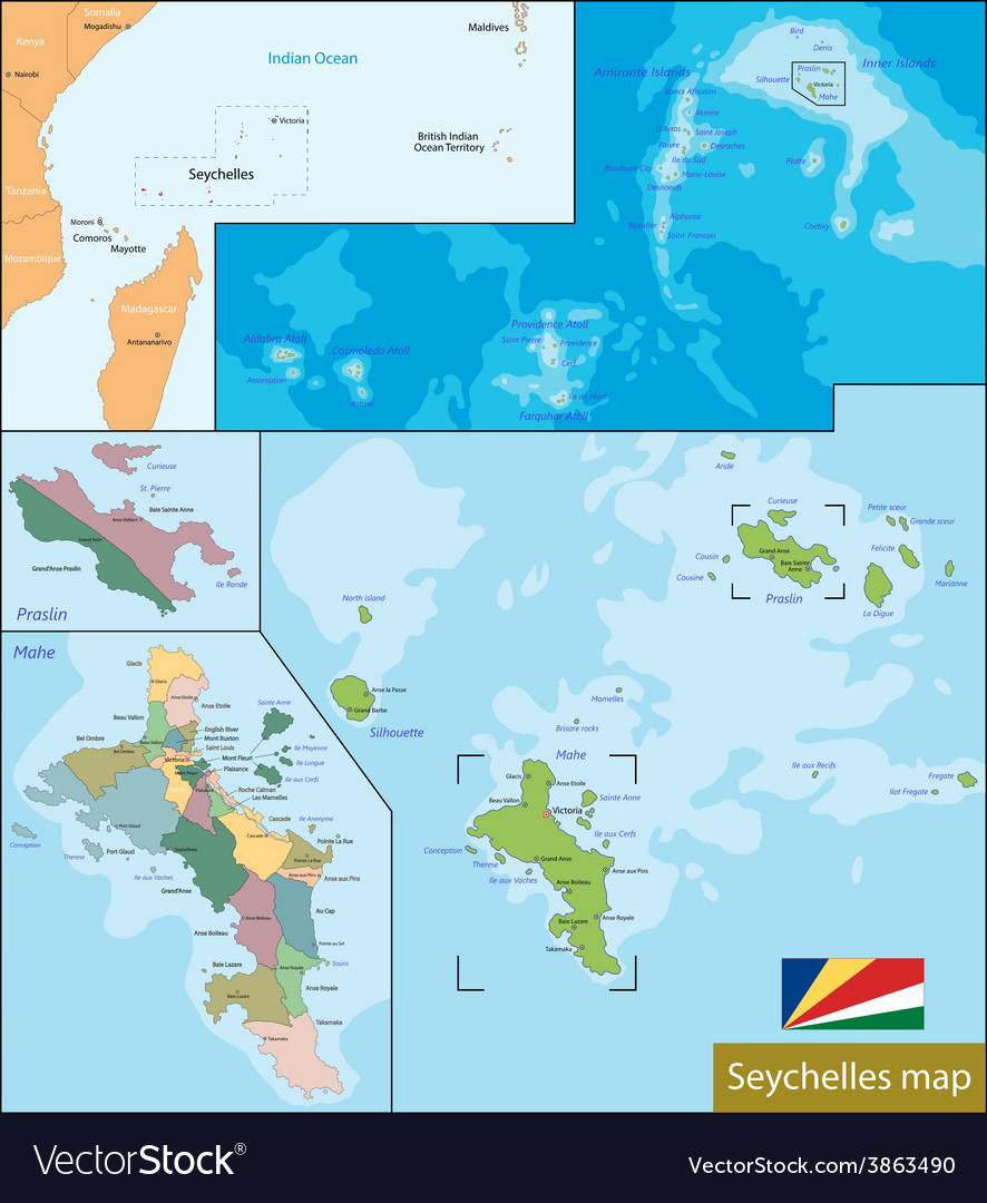 Seychelles map vector | Price: 1 Credit (USD $1)