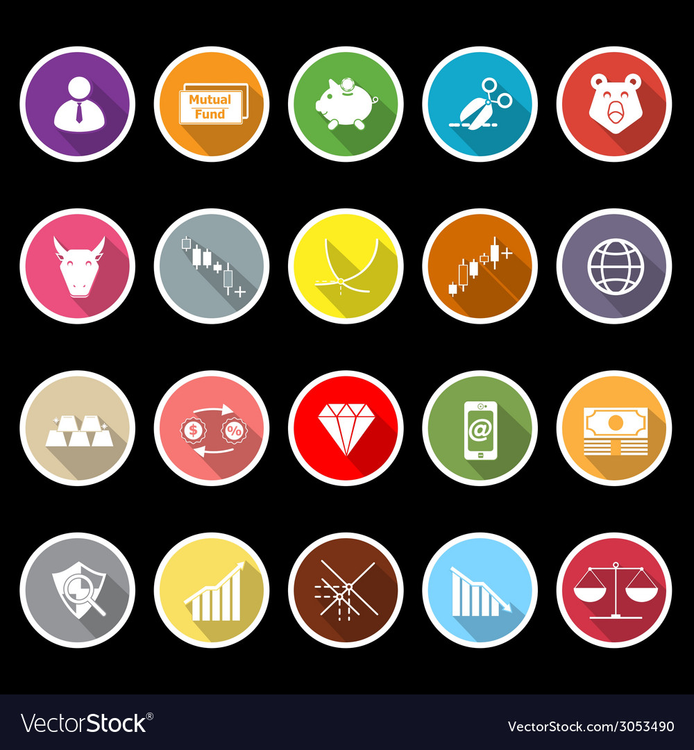 Stock market icons with long shadow vector | Price: 1 Credit (USD $1)