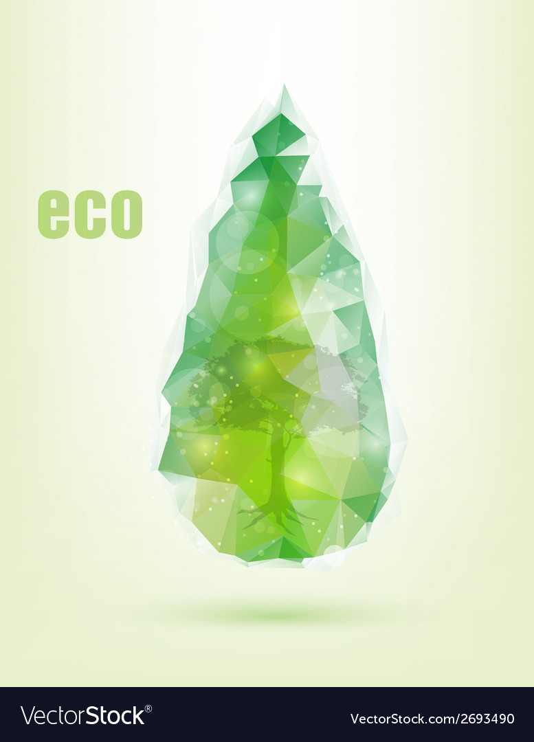 Triangular drop green concept of ecology vector | Price: 1 Credit (USD $1)